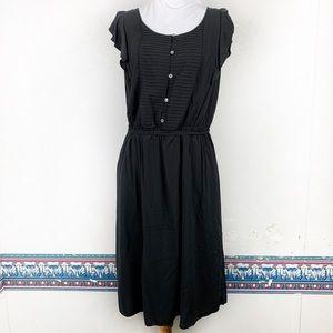 ANN TAYLOR LOFT Black Short Sleeve Sheath Dress